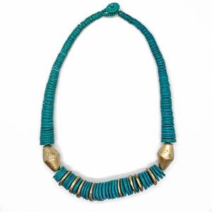 VINTAGE TURQUOISE GOLD STONE BEADED NECKLACE